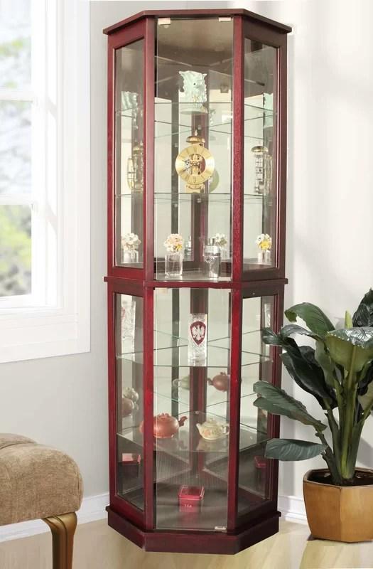 Corner Lighted Curio Cabinet