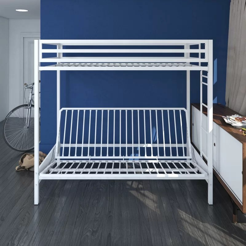 White Bunk Bed With Stairs Twin Over Twin