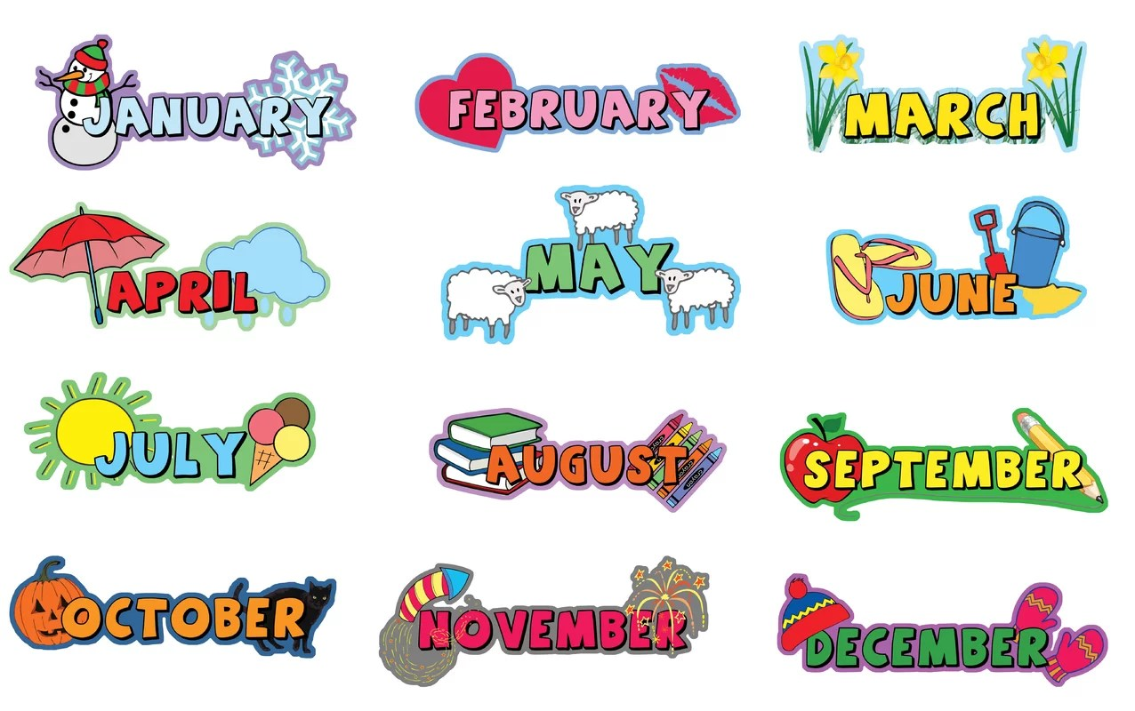 Inspirational Playgrounds 12 Piece Months Of The Year Wall