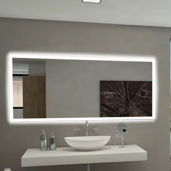 Paris Mirror Rectangle Backlit Bathroom  Vanity Wall Mirror  Reviews  Wayfairca