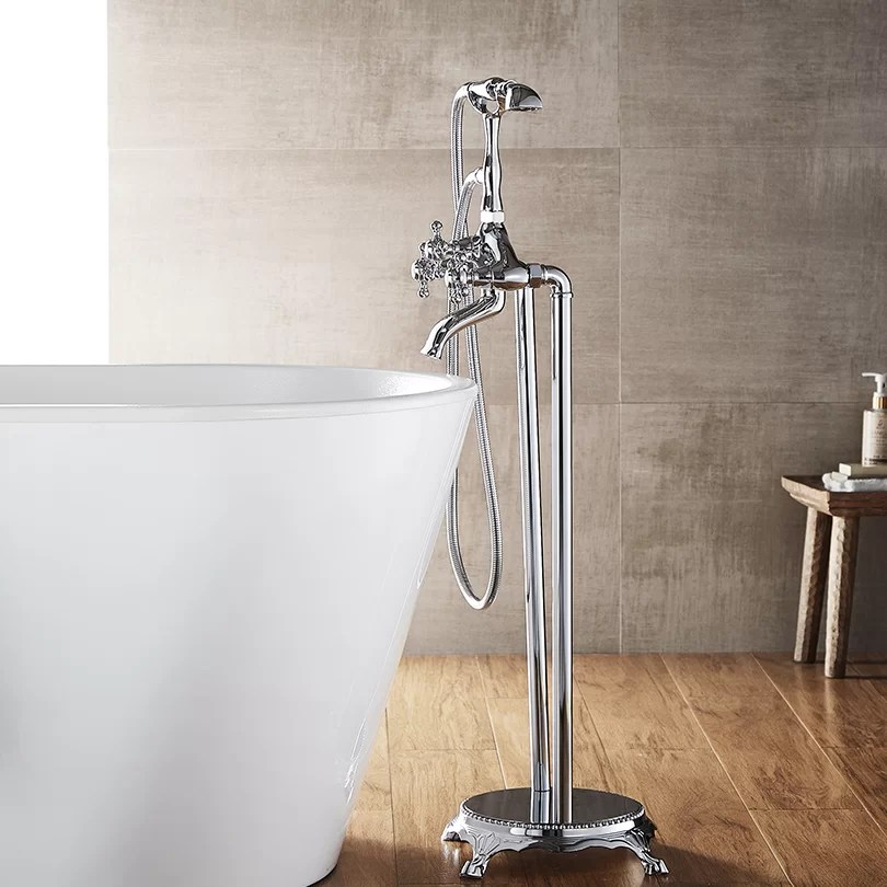 cassandra double handle floor mounted clawfoot tub faucet trim with diverter and handshower