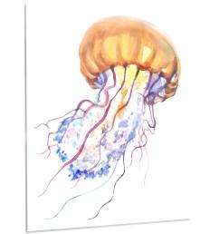 designart orange ocean water jellyfish painting print on metal wayfair [ 2500 x 2500 Pixel ]