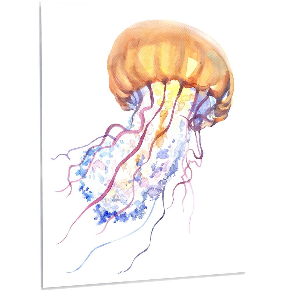 medium resolution of designart orange ocean water jellyfish painting print on metal wayfair
