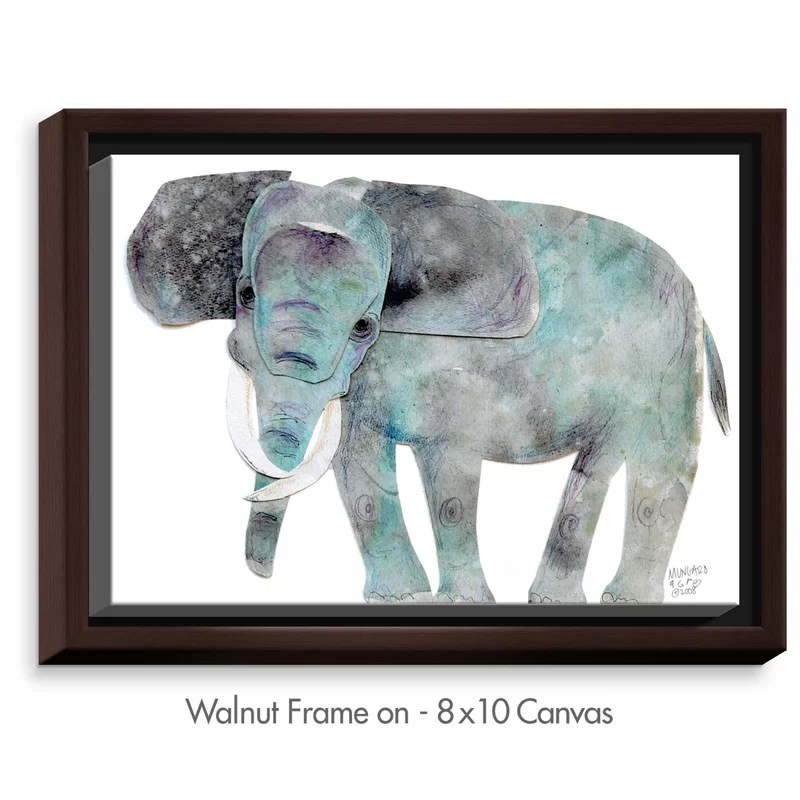 Elephant by Marley Ungaro Painting Print on Wrapped Framed Canvas Size: 12.75 H x 15.75 W x 1.75 D Frame Color: Walnut