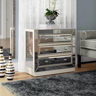 media chest for living room sectional small bedroom tv wayfair primm mirrored 3 drawer