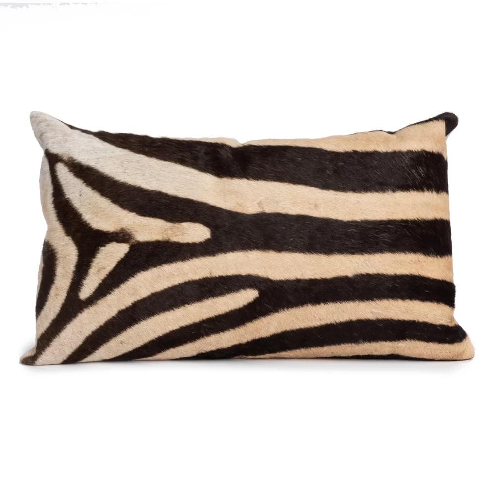 zebra linen animal print lumbar pillow
