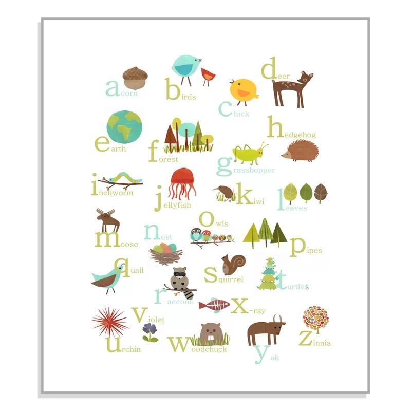 Nature Themed Woodland Alphabet Paper Print