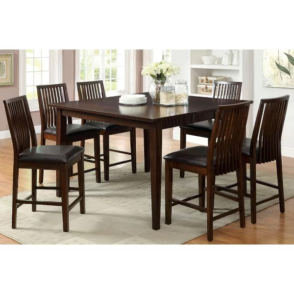 Alliani Counter Height Extendable Solid Wood Dining Table By Hokku Designs
