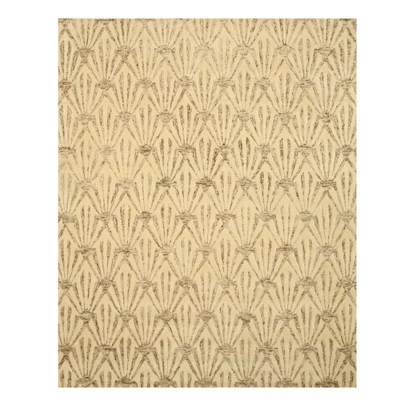 Hand Tufted Ivory Area Rug Rug Size: Rectangle 5 x 8