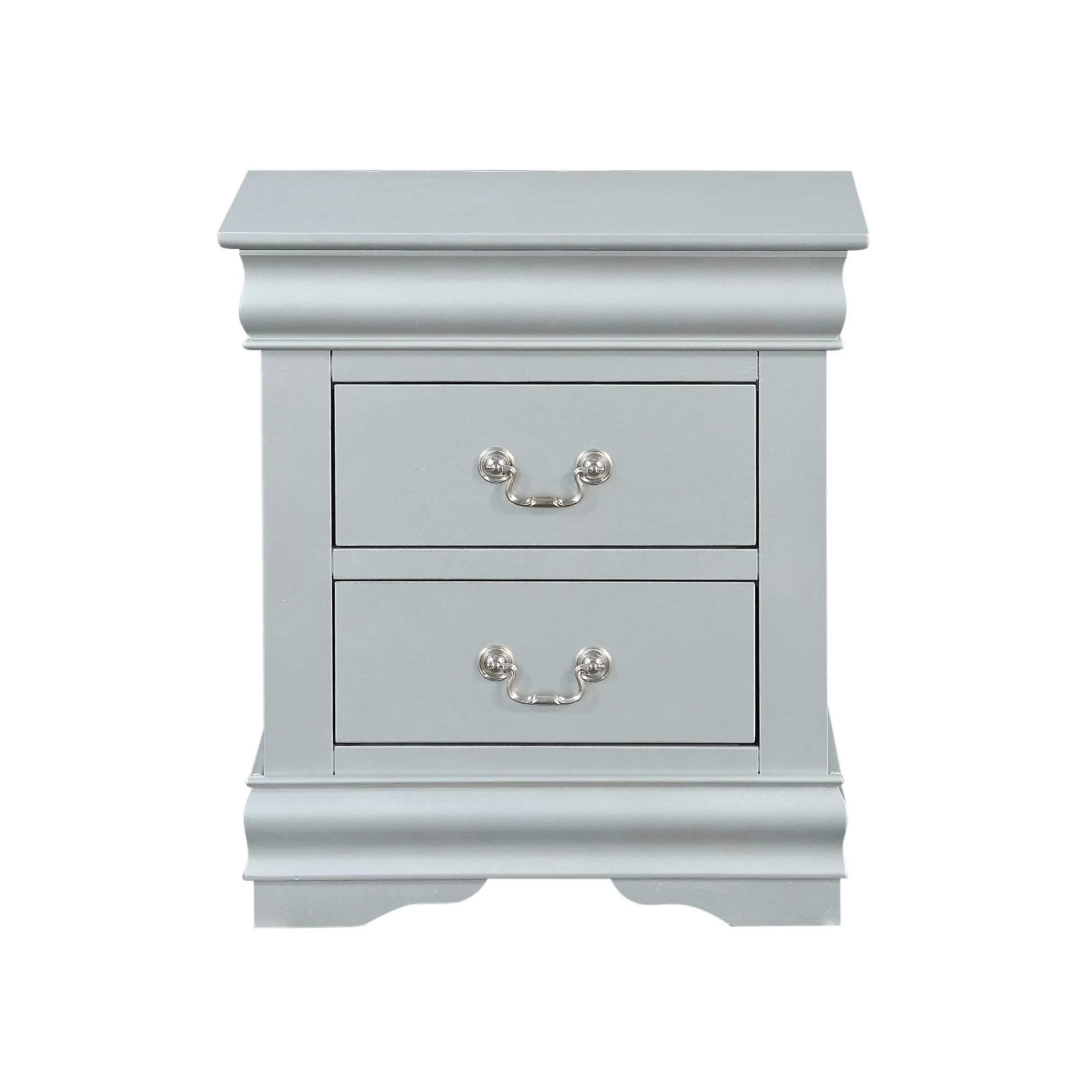 Traditional Style Wooden Nightstand With Two Drawers And Bracket Base Grey