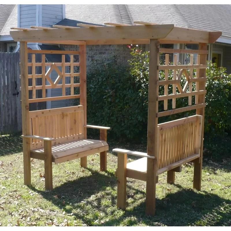 Threeman Products Double Garden Arbor With Bench Wayfair