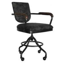 Distressed Leather Desk Chair Black Adirondack Chairs Brown Office Wayfair Mid Back