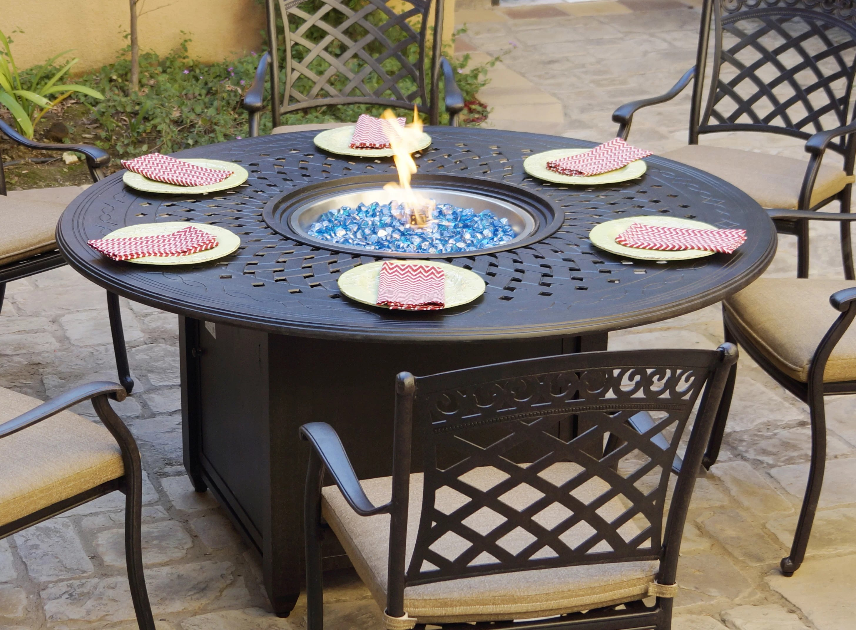 slavens 29 h x 60 w aluminum propane outdoor fire pit table