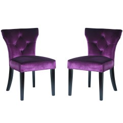 Purple Upholstered Dining Chairs Stacking Uk Armen Living Elise Chair Reviews Wayfair