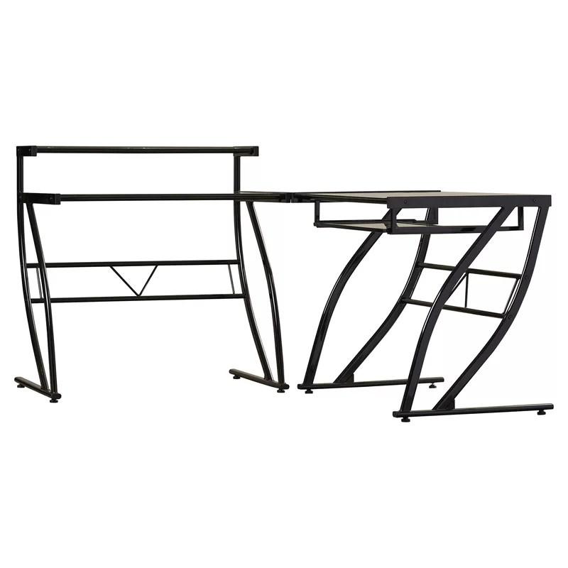 Brayden Studio Davie Glass L-Shape Computer Desk & Reviews