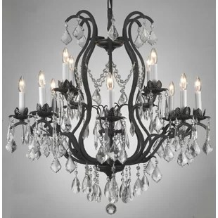 Clemence 12 Light Bell Shade Chain Crystal Chandelier