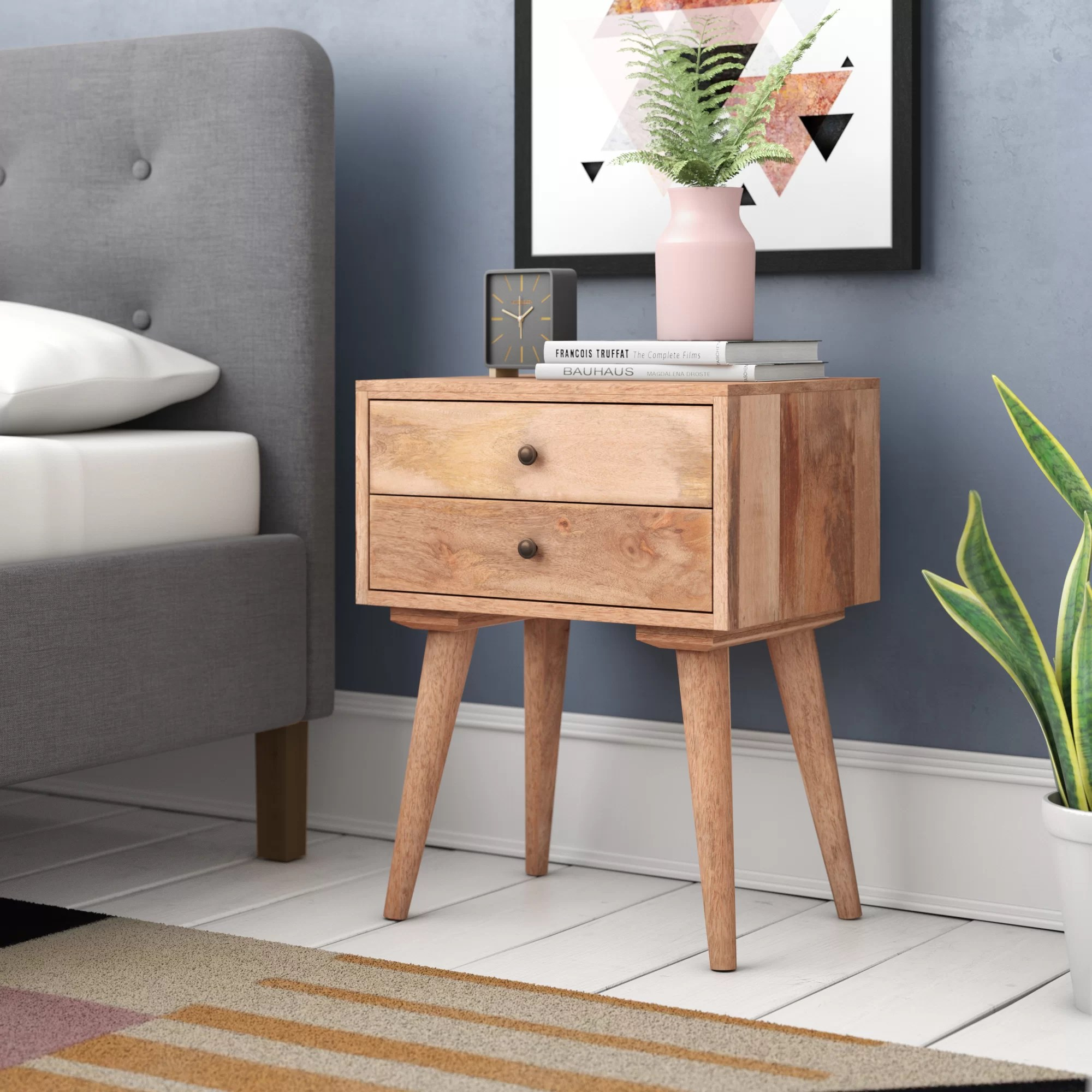 Carclunty Solid Wood 2 Drawer Bedside Table