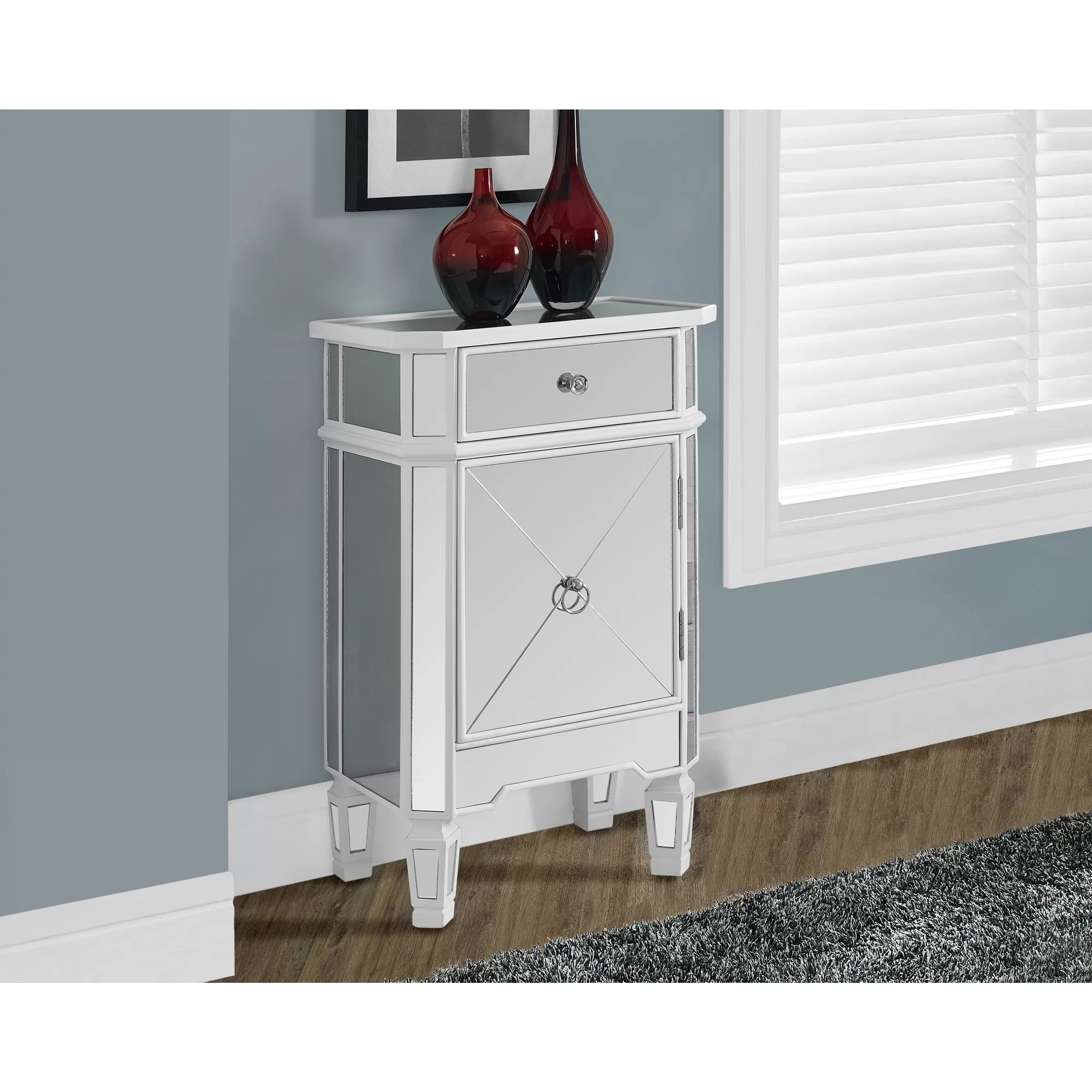 monarch specialties mirrored 38 sofa console table with drawers barcalounger recliners inc 1 drawer accent cabinet and reviews