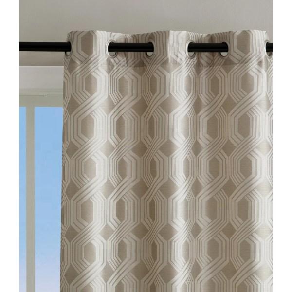 Sheer Grommet Curtain Panel Geometric