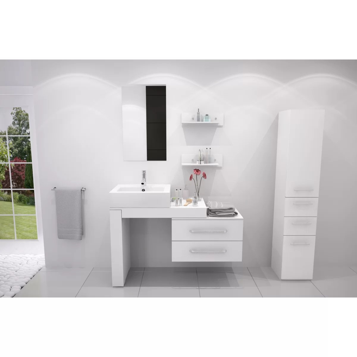 "Mercury Row Osborn 57"" Single Wall Mounted Modern Bathroom"