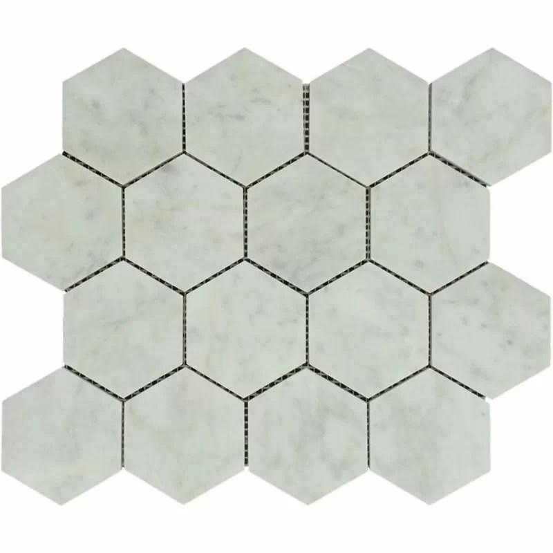 3 x 3 marble honeycomb mosaic wall floor tile
