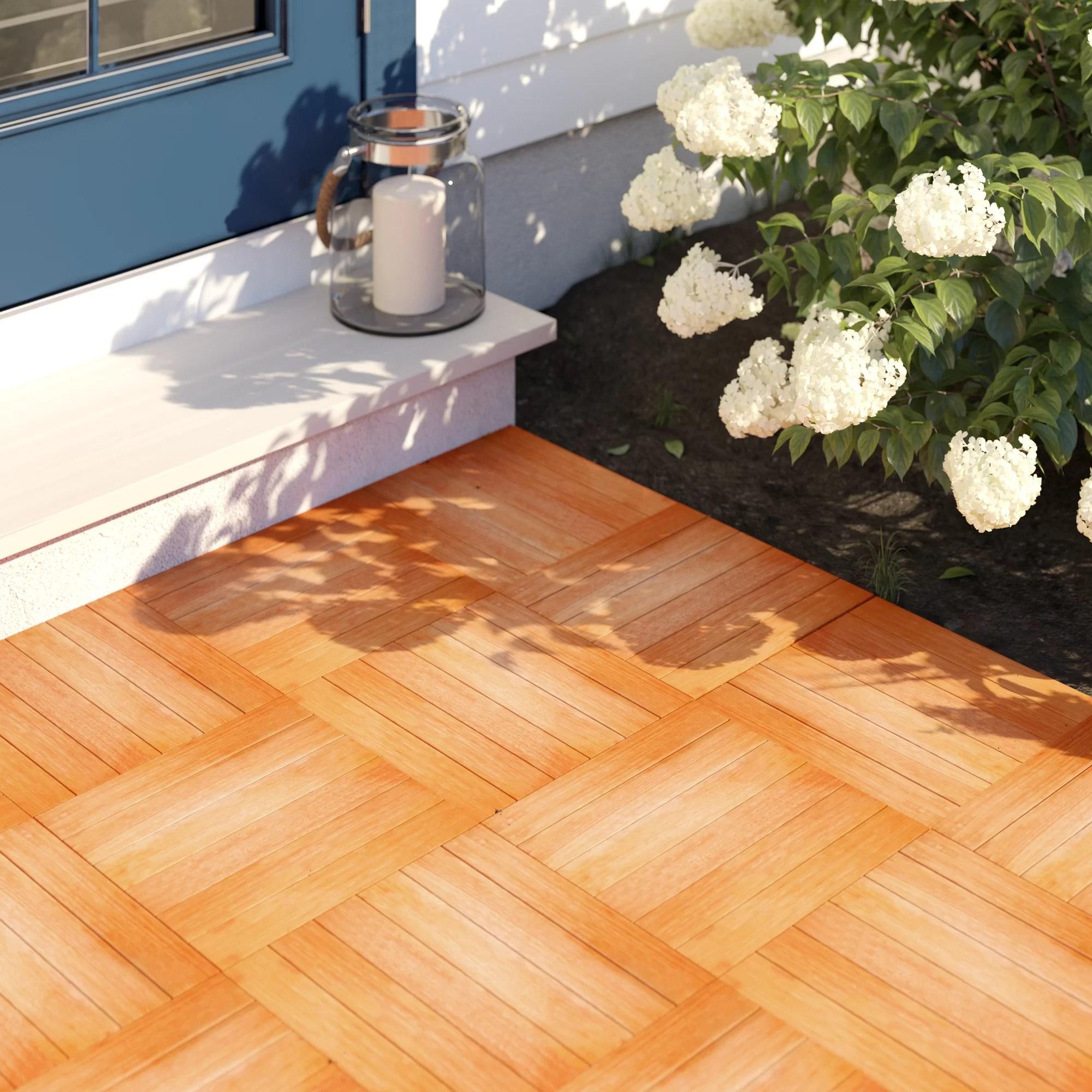 tryon 12 x 12 eucalyptus interlocking deck tile in natural