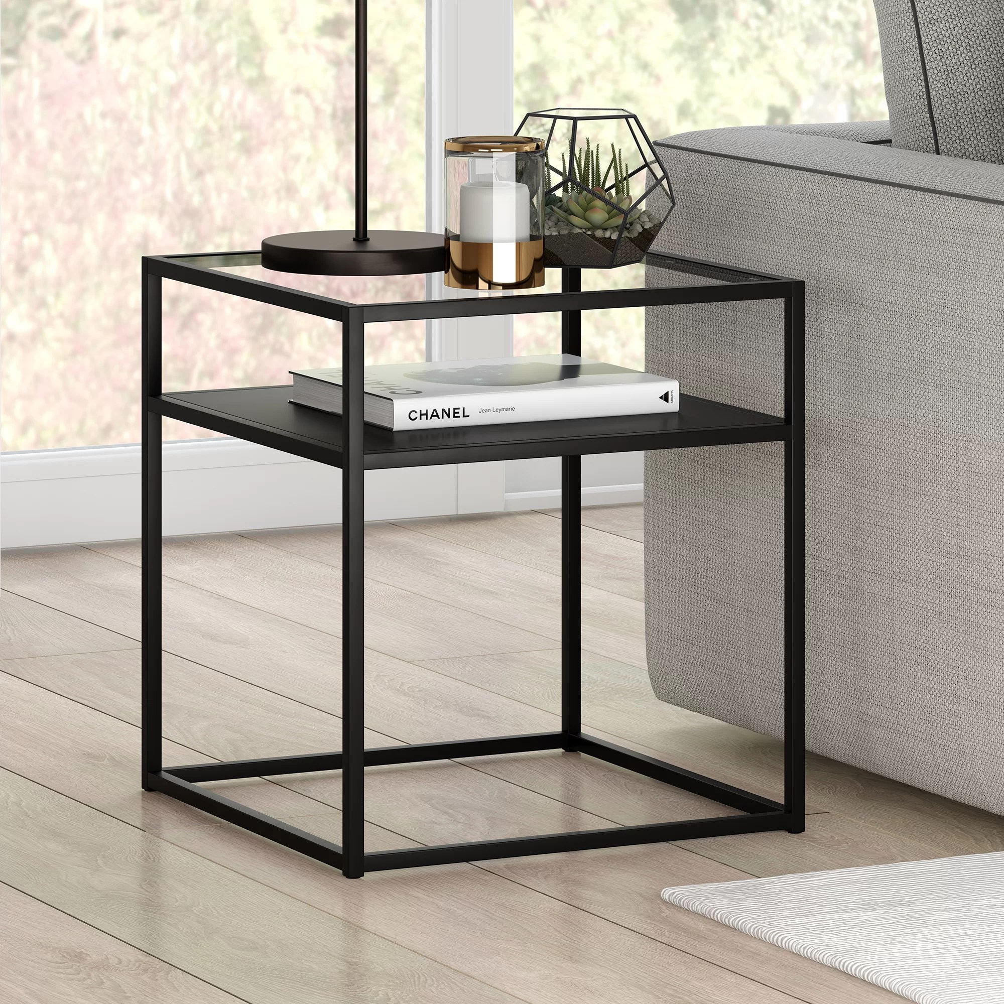 fiesta glass top frame end table with storage