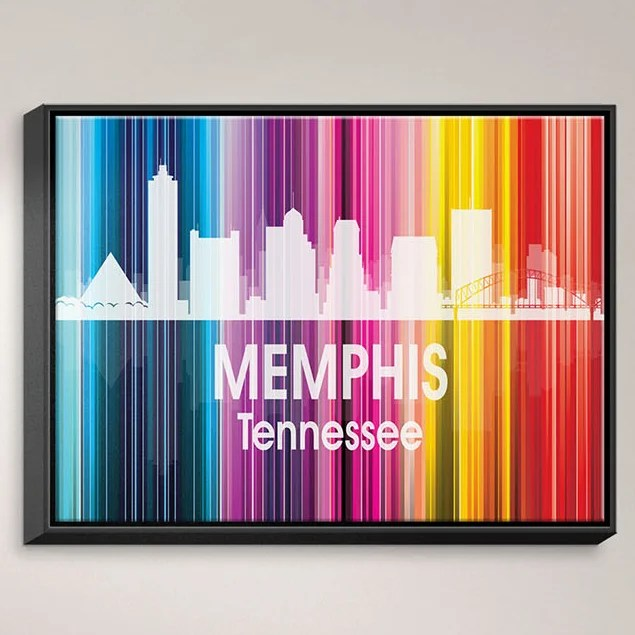 City II Memphis Tennessee by Angelina Vick Graphic Art on Wrapped Framed Canvas Size: 12.75 H x 15.75 W x 1.75 D Frame Color: Black