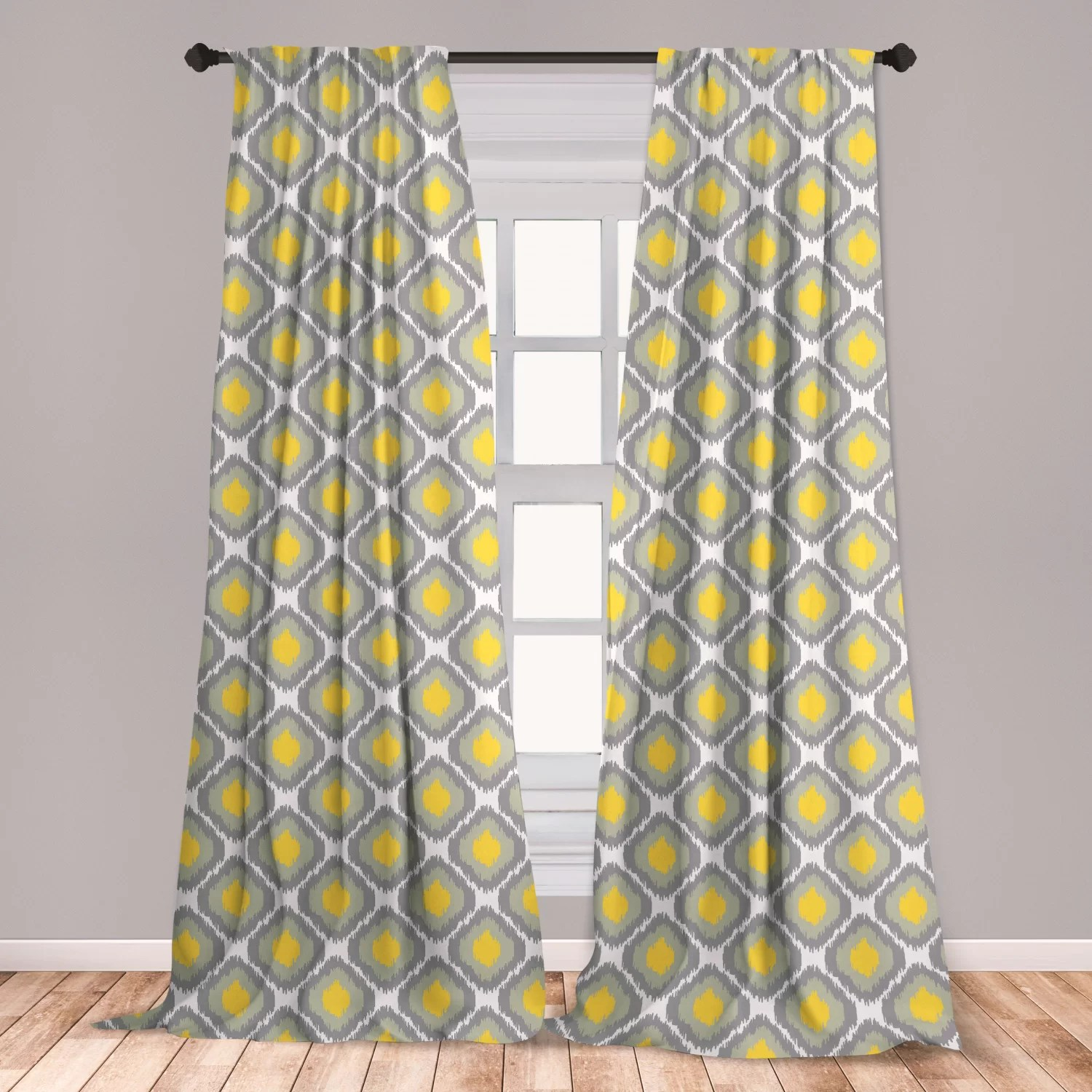grey and gold geometric curtains
