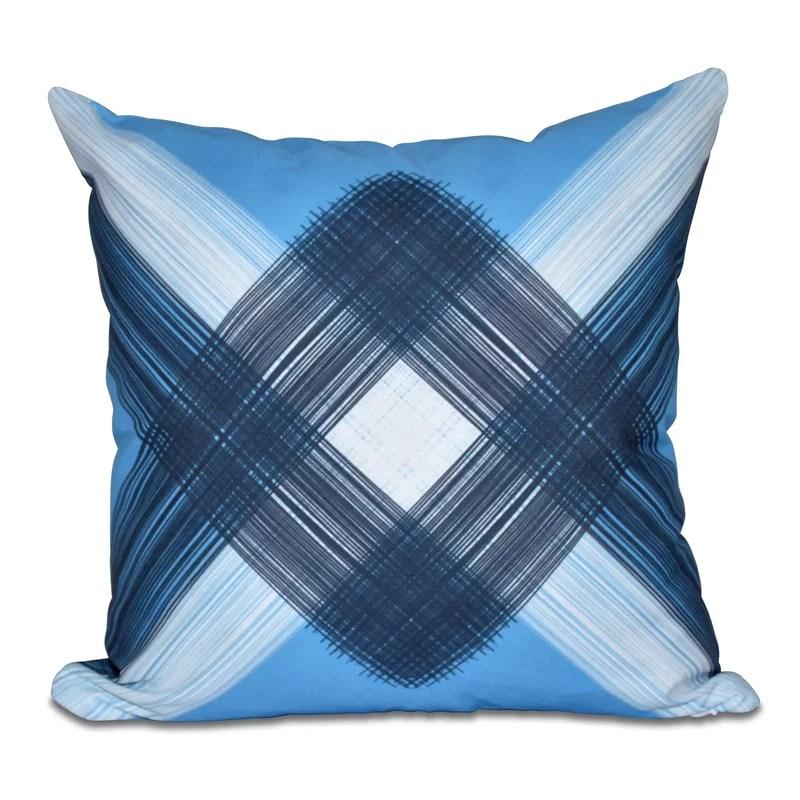Hancock String Art Geometric Print Throw Pillow Size: 18 H x 18 W Color: Blue