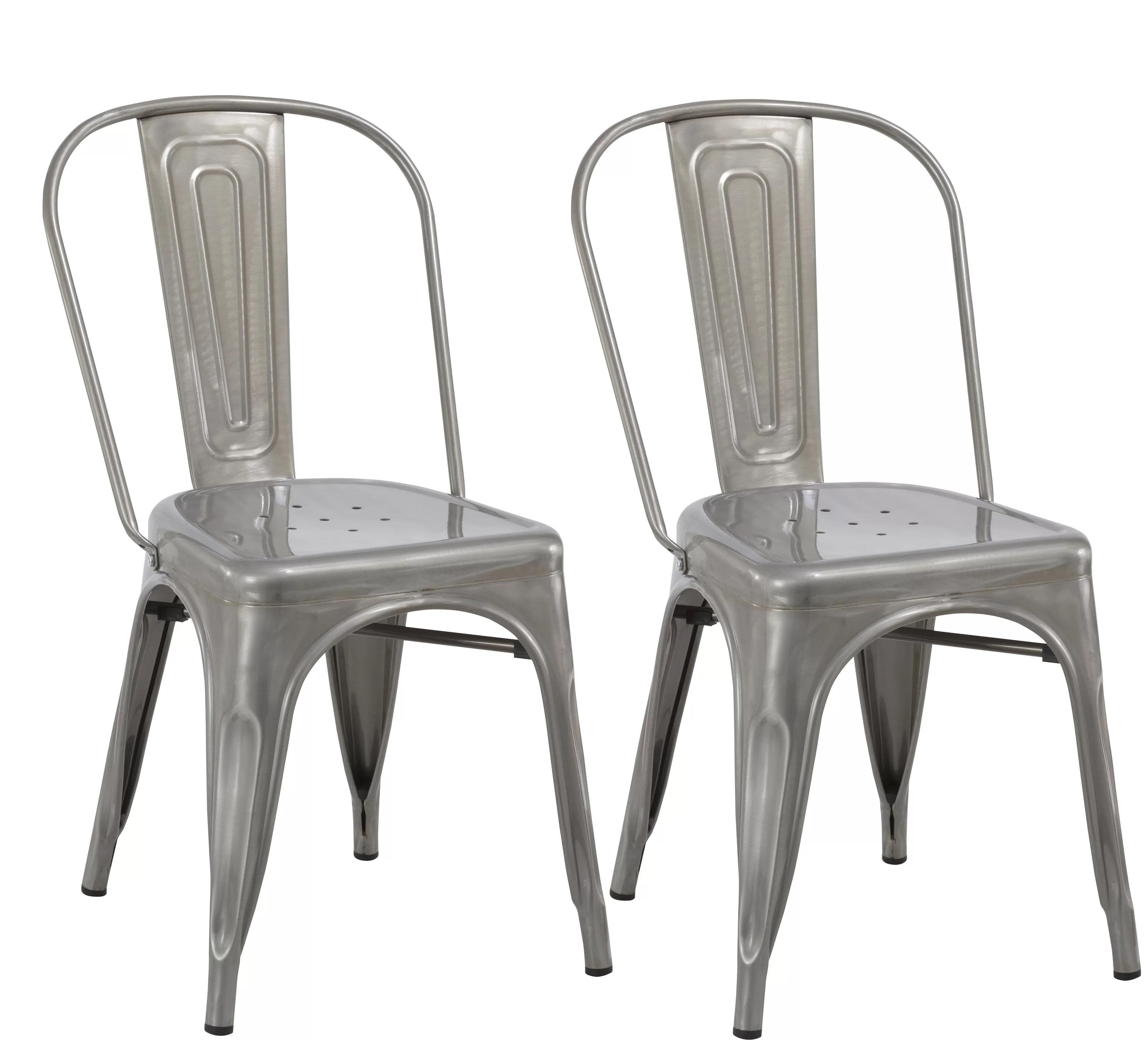 Kathleen Industrial Metal Bistro Stackable Cafe Dining Chair