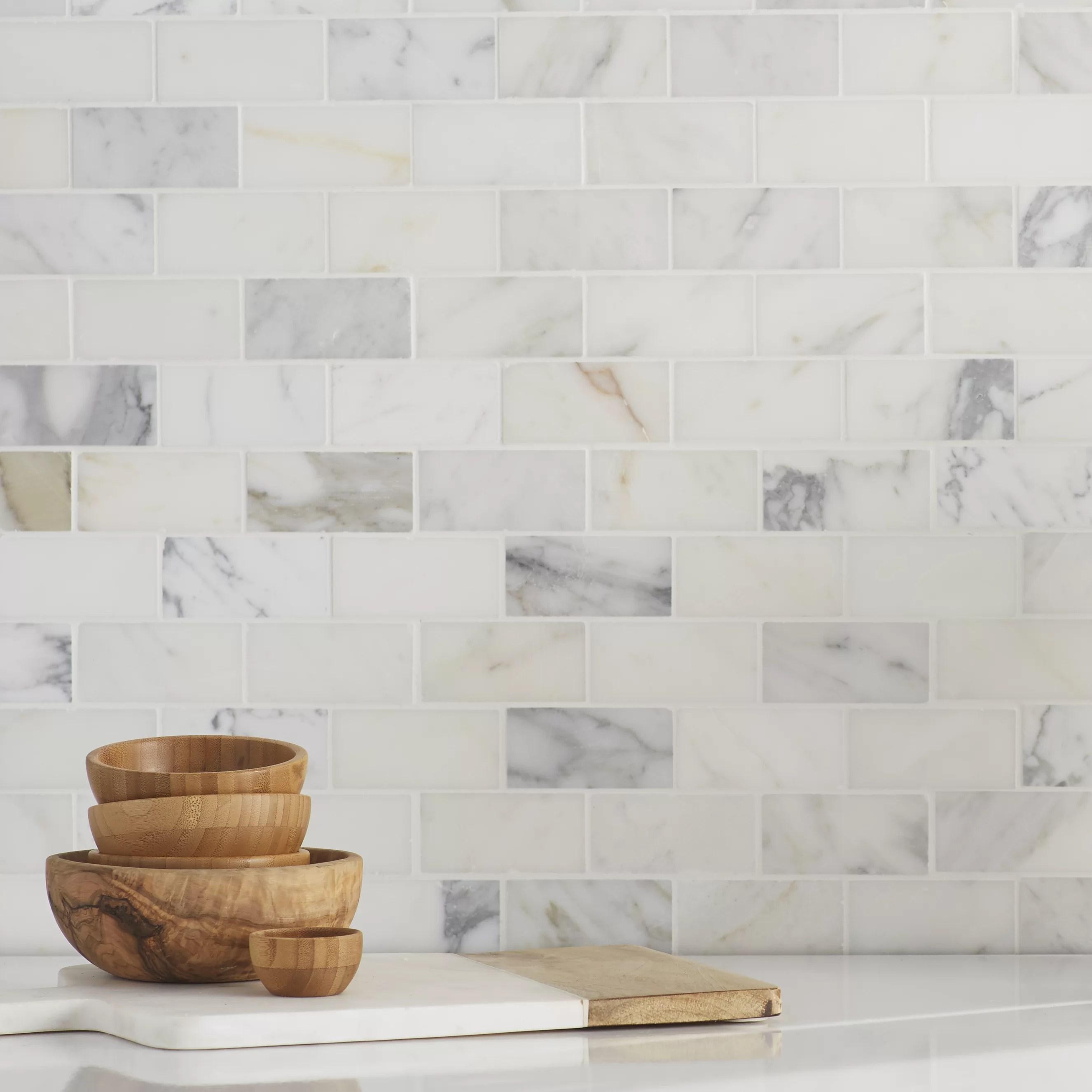 msi calacatta gold 2 x 4 marble brick joint mosaic wall floor tile reviews wayfair