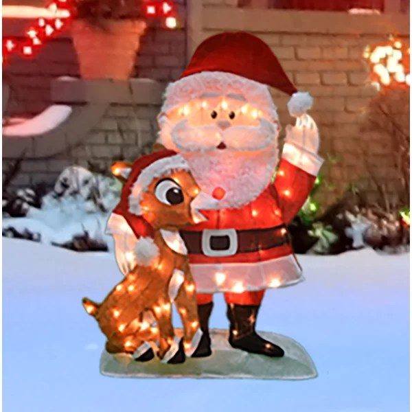 32%22+Lighted+Waving+Santa+Claus+and+Rudolph+Christmas+Outdoor+Decoration