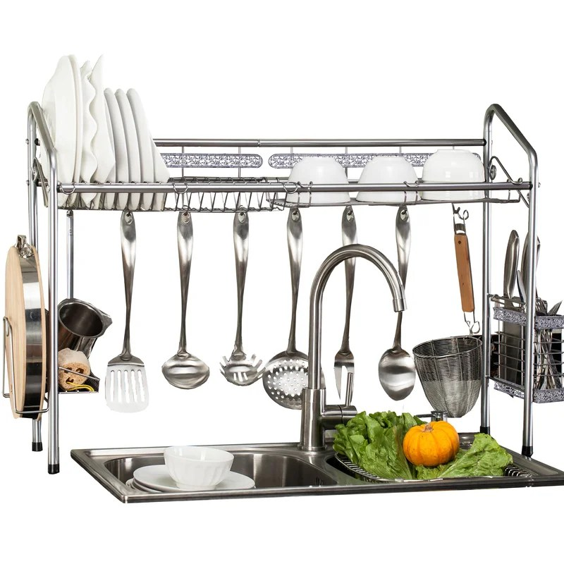 professional over the sink stainless steel dish rack