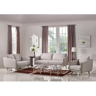modern living room sofa furniture decorating ideas for small with corner fireplace sets allmodern alivia 3 piece set