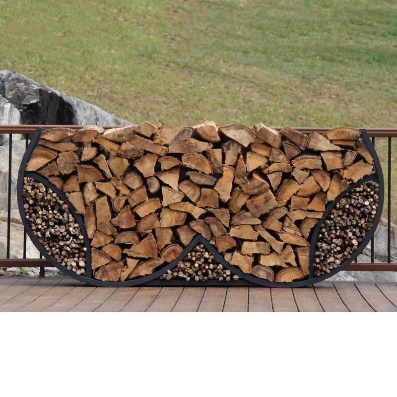 eberhart 8 double round firewood log rack with kindling kit