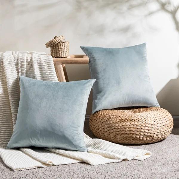 dark grey velvet pillows