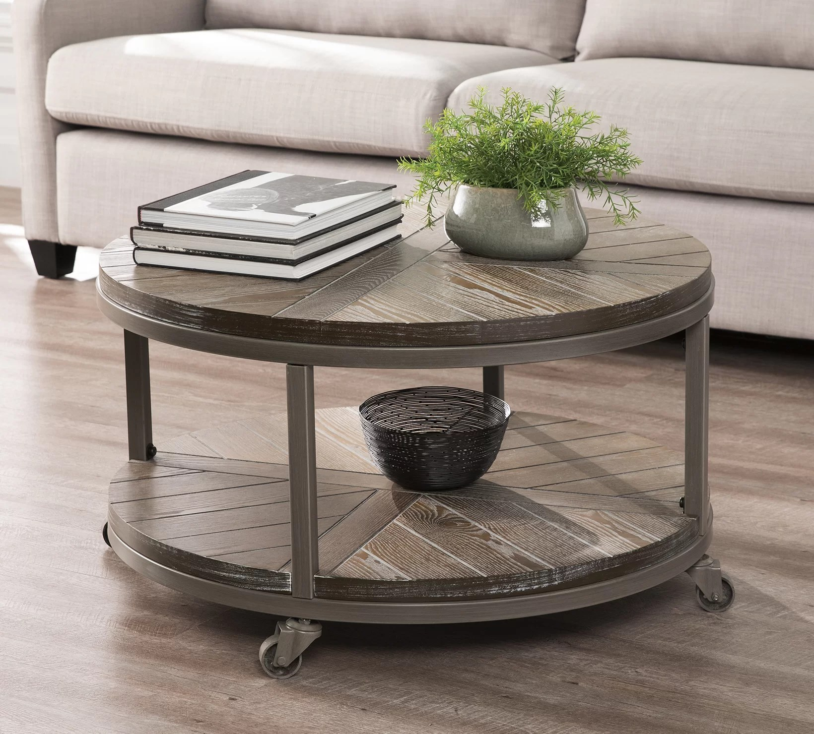 union rustic brien wheel coffee table with storage reviews wayfair