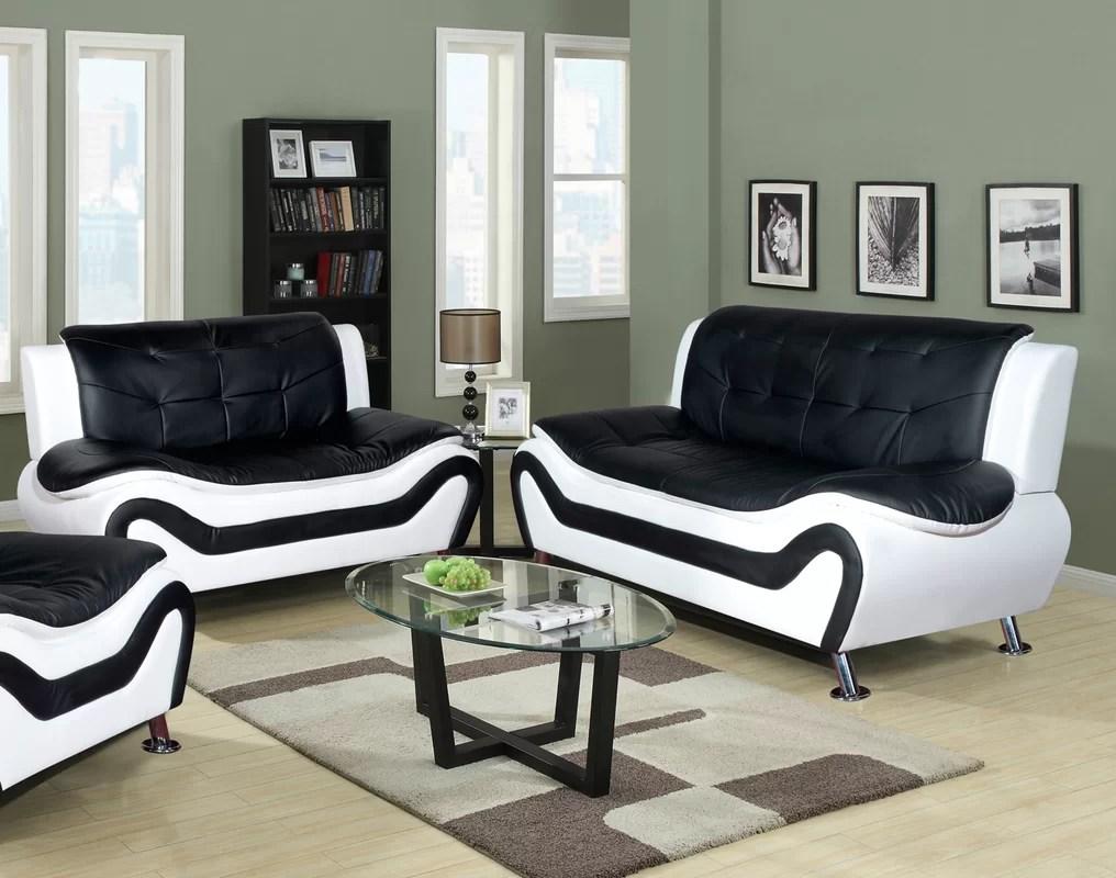 Orren Ellis Crocker 2 Piece Leather Living Room Set  Reviews  Wayfair