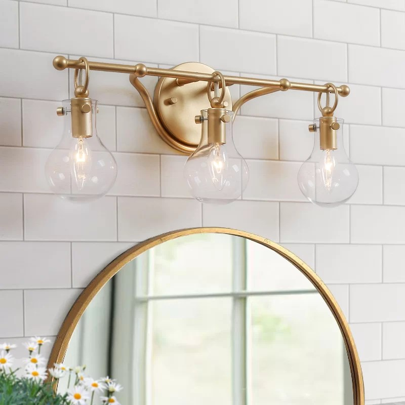 caylor 3 light dimmable gold vanity light