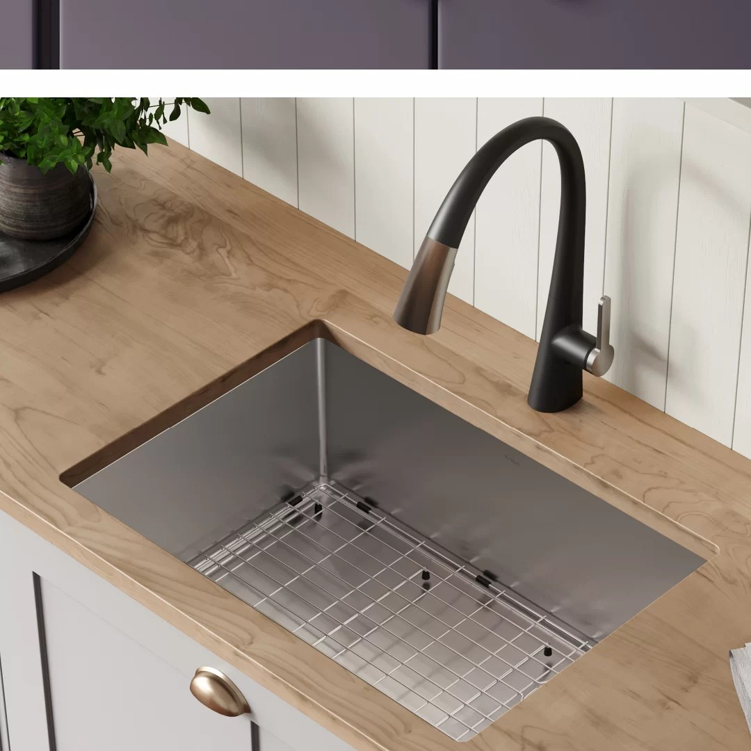 standart pro 16 gauge 25 x 18 undermount kitchen sink with bottom grid drain assembly and drain cap
