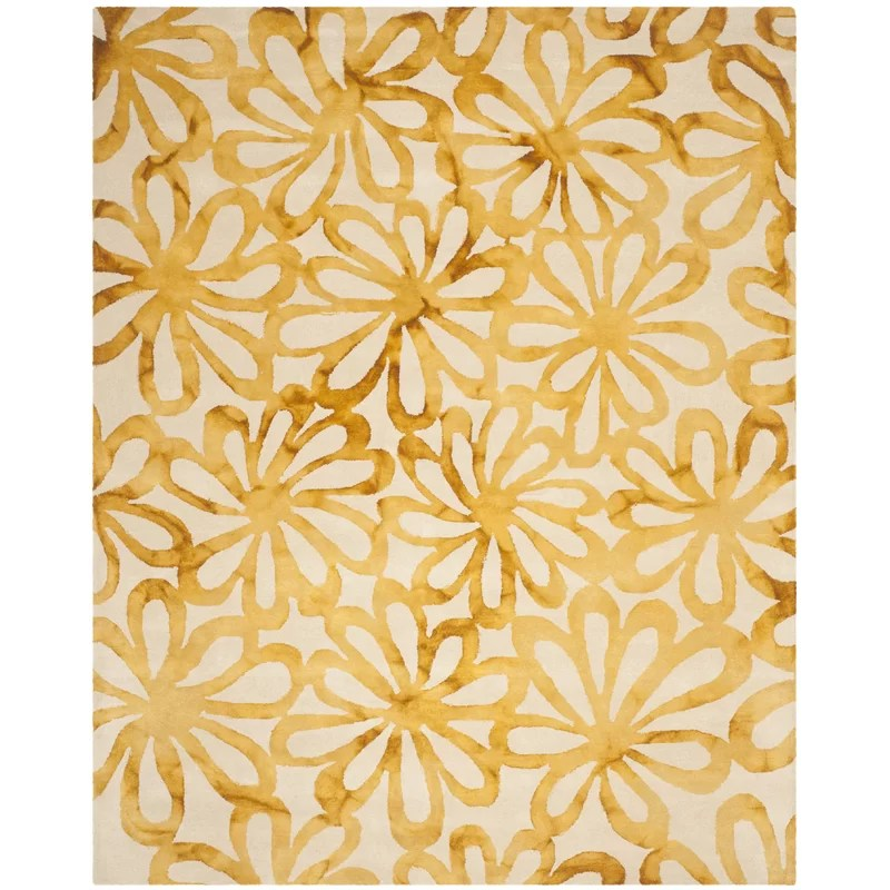 Hand-Tufted Wool Beige/Gold Area Rug Rug Size: Rectangle 8 x 10