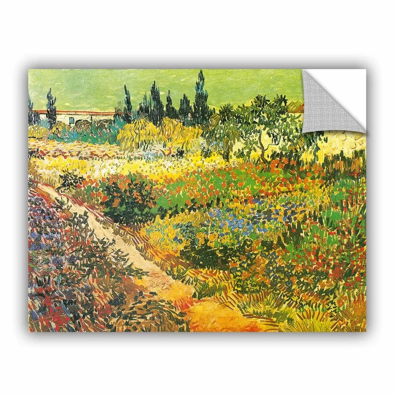 Flowering Garden by Vincent Van Gogh  Removable Wall Decal Size: 18 H x 24 W x 0.1 D