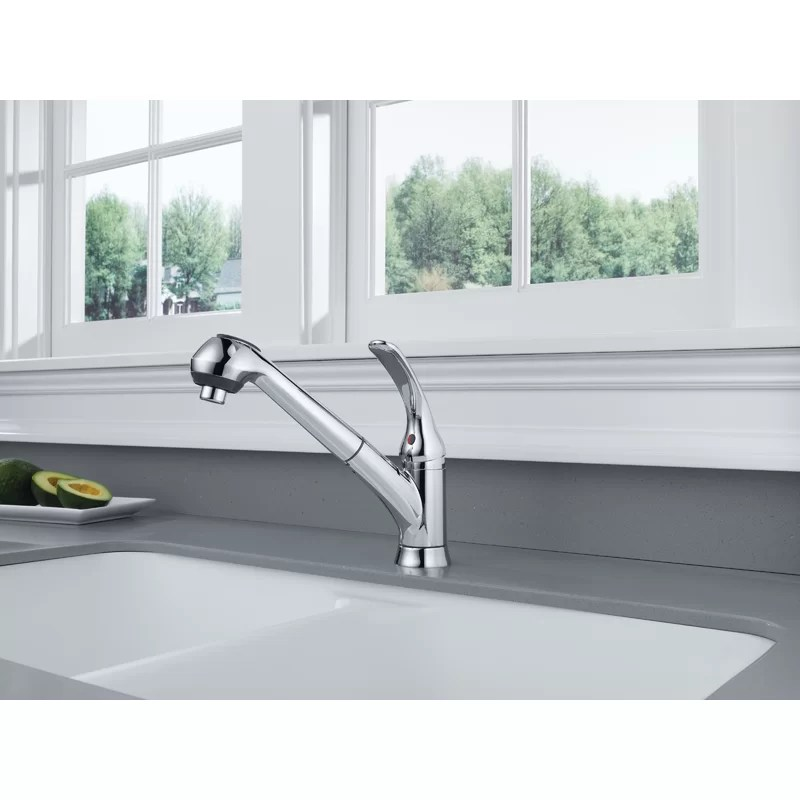 foundations pull out single handle kitchen faucet with diamond seal technology