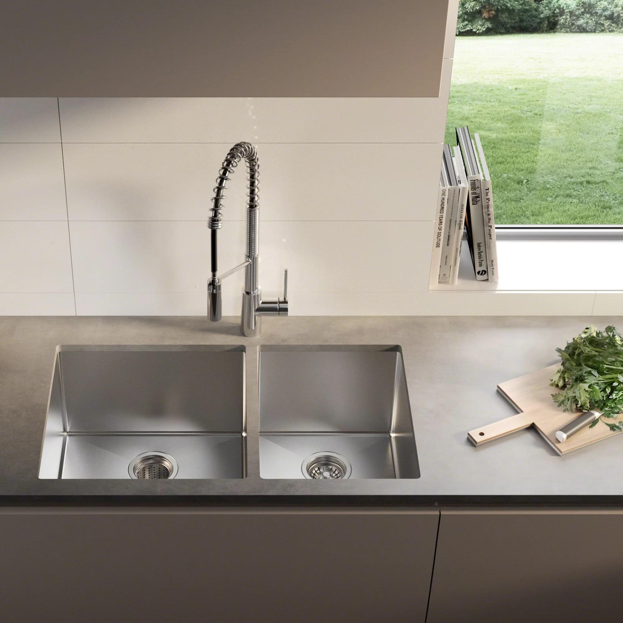 standart pro 33 l x 19 w double basin undermount kitchen sink with basket strainer