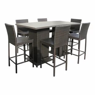 outdoor bar table and chairs chair covers sashes leeds height patio sets wayfair stratford 8 piece dining set