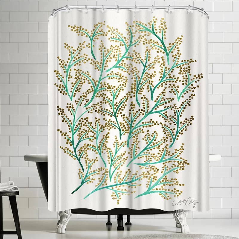 green and gold branches single shower curtain