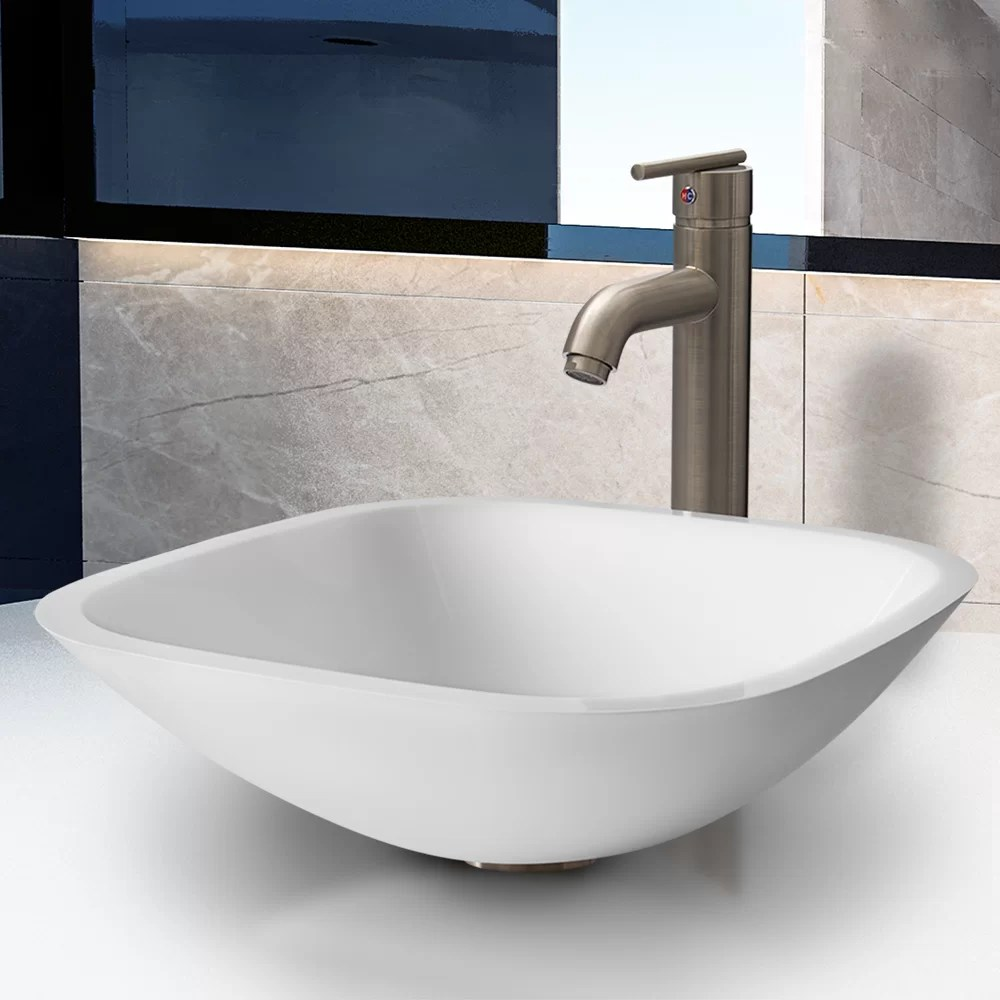 Modern Faucets For Bathroom Sinks Marie Phoenix Stone And Glass Square Vessel Bathroom Sink With Faucet