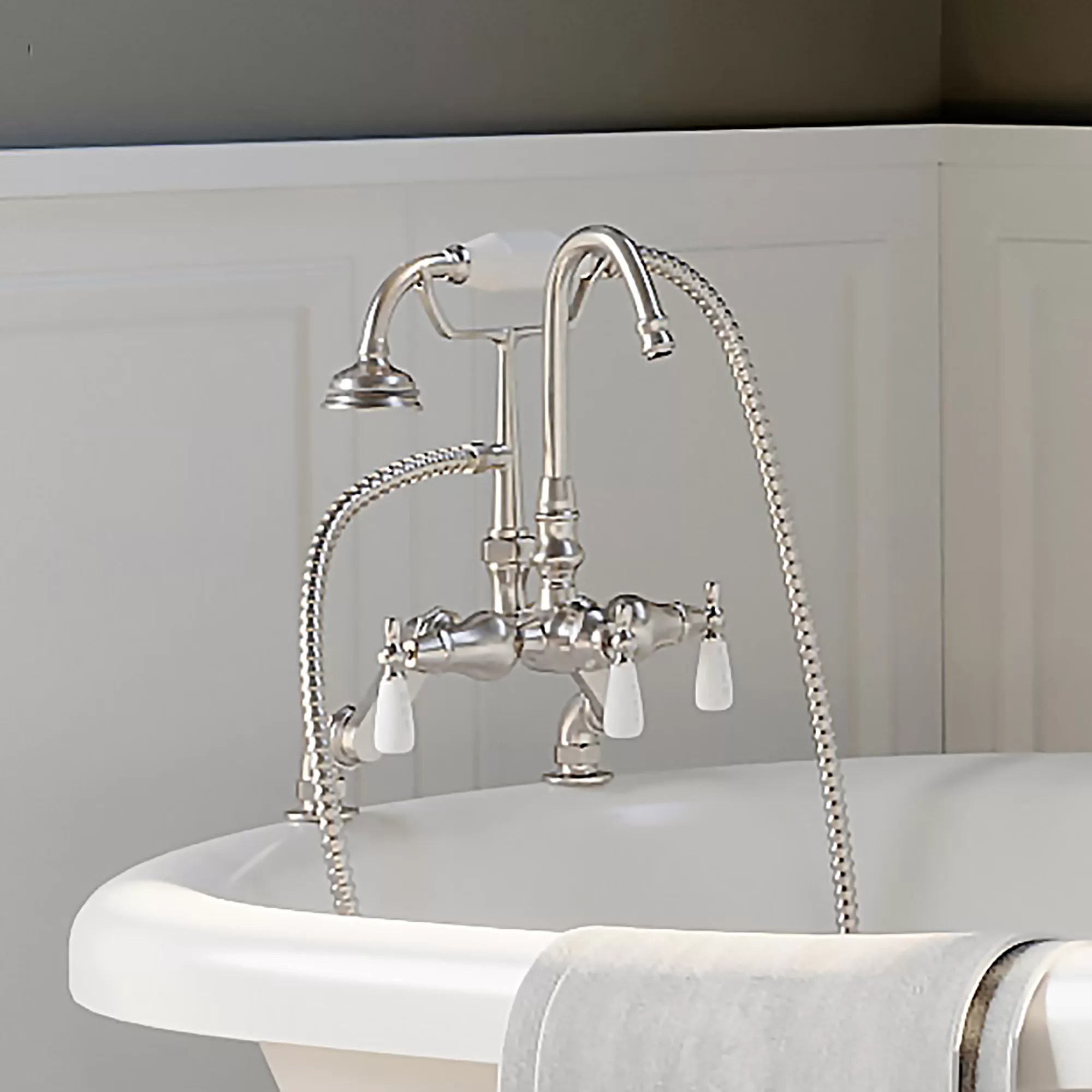 triple handle deck mounted clawfoot tub faucet with diverter and handshower