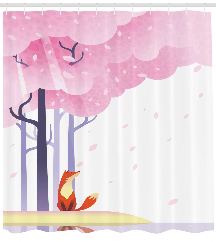 fox shower curtain set hooks